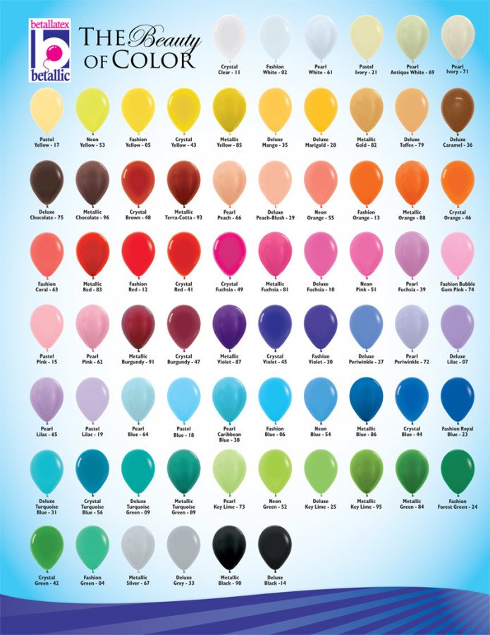 Balloon Size And Color Chart Life O The Party