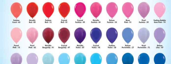 Balloon Size and Color Chart