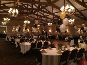 60th Birthday Party Balloons, Mylar Balloons, Black and Gold Balloons, Balloon Centerpieces