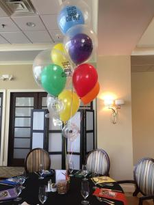 Colorful Rainbow Balloon Centerpiece