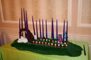 Chocolate River Candle Lighting , Custom Design Candle Pieces, Bar Mitzvah