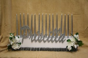 Silver And White And Everything's Bright, Candle Lighting Centerpieces, Bat Mitzvah Candle Lighting Ideas