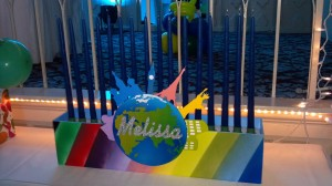 Traveling Over the Rainbow Candle Lighting Centerpieces, Candle Lighting Pieces & Candles, Bat Mitzvah Candle Lighting Ideas