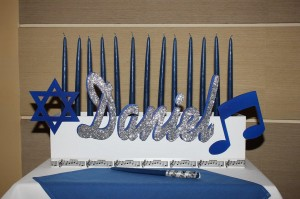 Roll Bar Mitzvah, Sparkly Candle Piece, Music and Judaism Candle Pieces