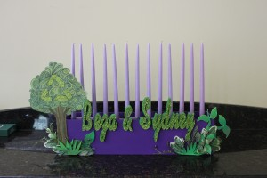Candle Lighting Centerpieces, Green and Purple Candle Lighting, Candle Lighting Ideas