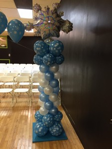Balloon Column, Balloon Column with star top, Blue and white Balloon column