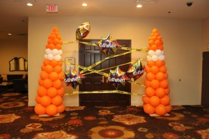 Balloon Columns, Balloon sculpture, Orange and White Balloon Columns