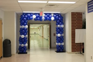 Door Frame Balloon Arch, Blue and White Balloons, School Spirit Balloons