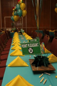 Sign Centerpieces,  Message Board with Table No. Centerpieces, Balloon Centerpieces