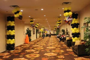 Balloon Column, Balloon Decoration, Yellow and Black Balloon Columns