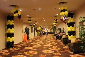 Balloon Column, Balloon Decoration, Yellow and Black Balloon Columns