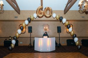60th Birthday Party Balloons, Mylar Balloons, Black and Gold Balloons, Balloon Centerpieces