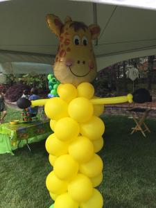 Yellow Balloon Column with Giraffe Balloon