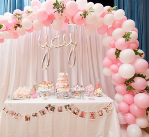 Pink Wedding Balloon Organic Arch