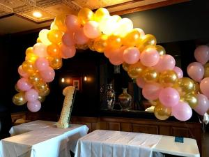 Birthday Yellow Balloon Arch with Flowers