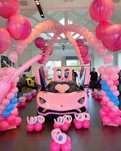 Pink Lamborghini Balloon Arches and Columns