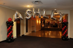 Mylar Balloon Letters, Balloon Arch, Balloon Columns, Red and Black Balloons