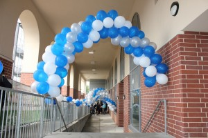 Packed Balloon Arches, Blue and White Balloons, Balloon Decorations
